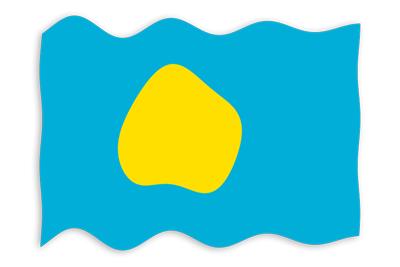 パラオ共和国の国旗-波