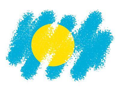 パラオ共和国の国旗-クレヨン1
