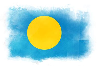 パラオ共和国の国旗-水彩風