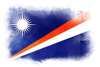 マーシャル諸島共和国の国旗-水彩風