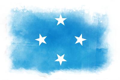 ミクロネシア連邦の国旗-水彩風