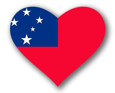 サモア独立国の国旗-ハート