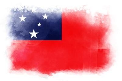 サモア独立国の国旗-水彩風