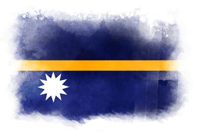 ナウル共和国の国旗-水彩風