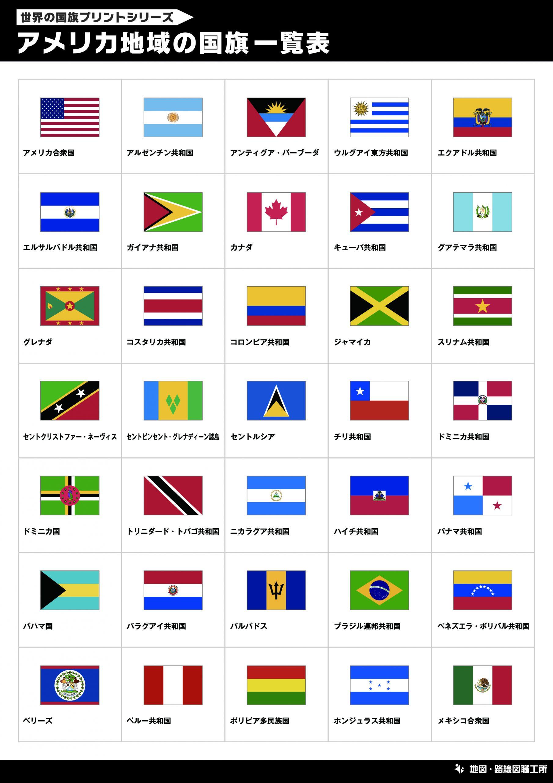 アメリカ地域の国旗一覧表