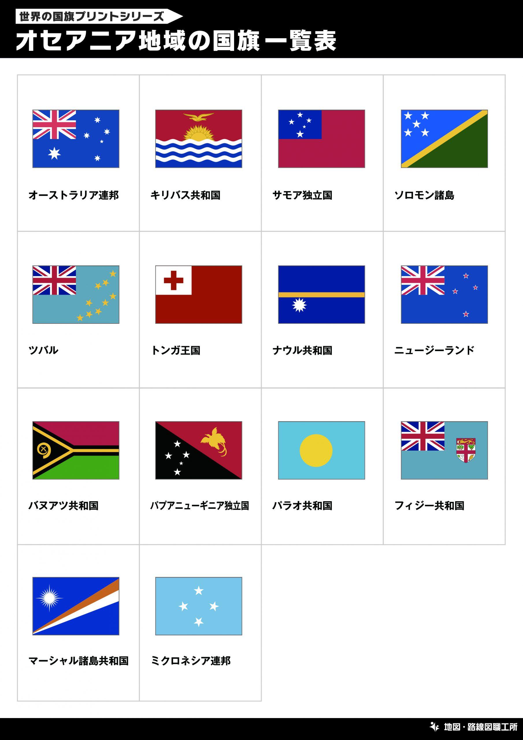 オセアニア地域の国旗一覧表