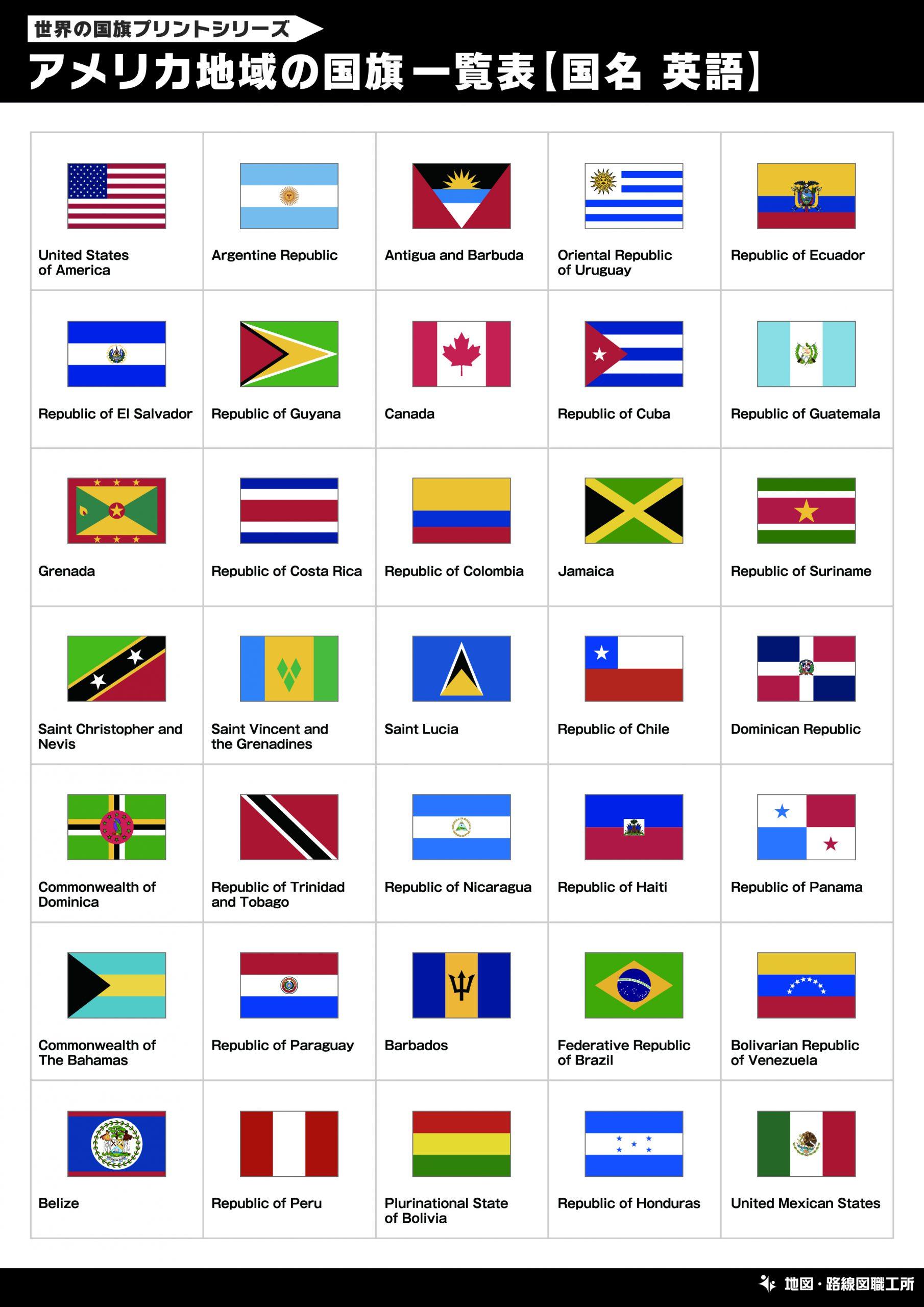 アメリカ地域の国旗一覧表【国名 英語】