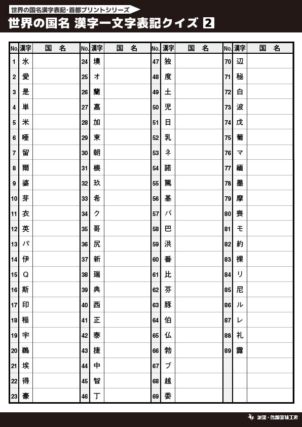世界の国名 漢字一文字表記クイズ