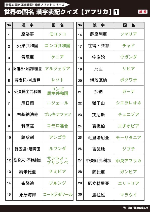 世界の国名 漢字表記クイズ【アフリカ】