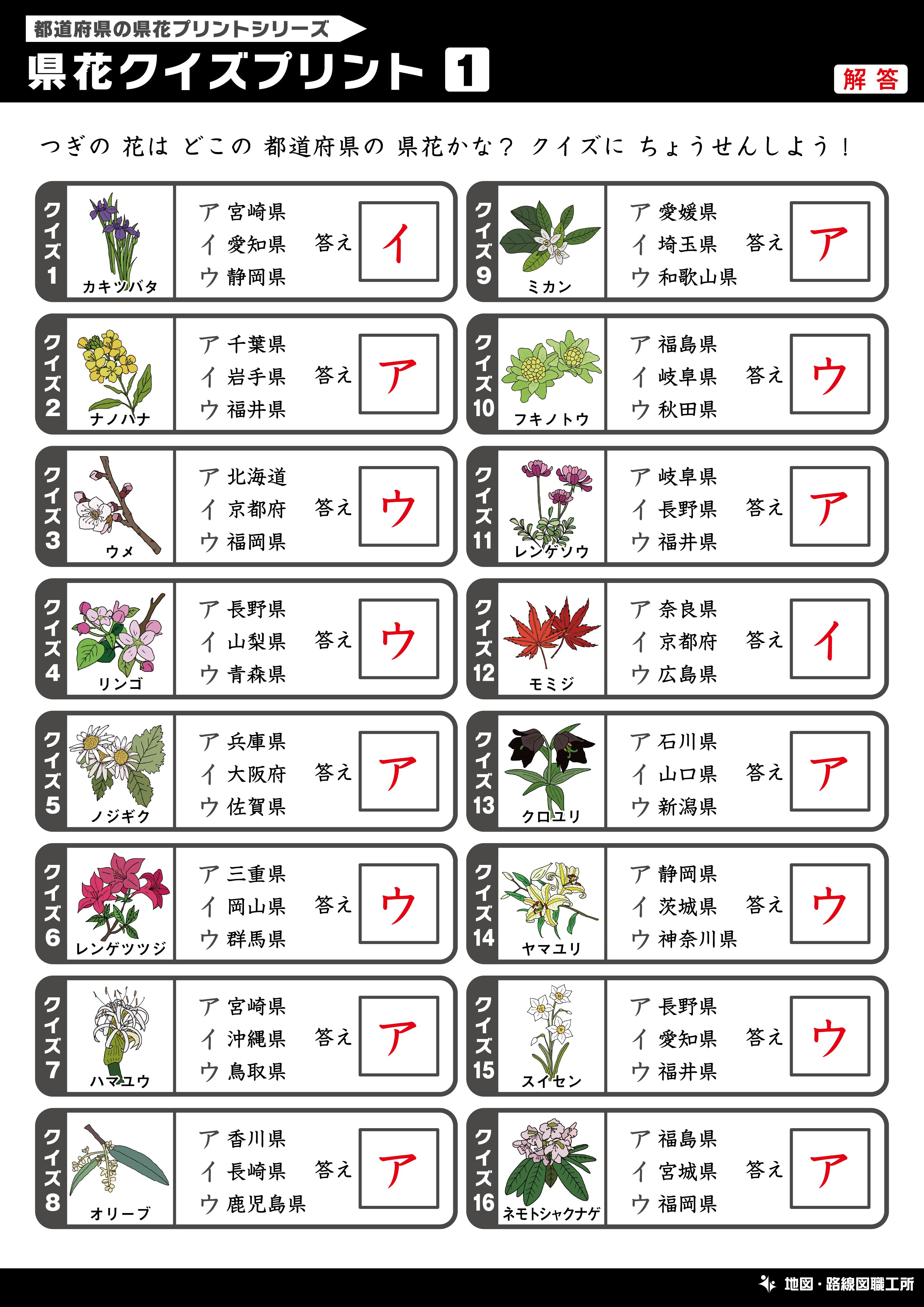 県花クイズプリント 選択問題
