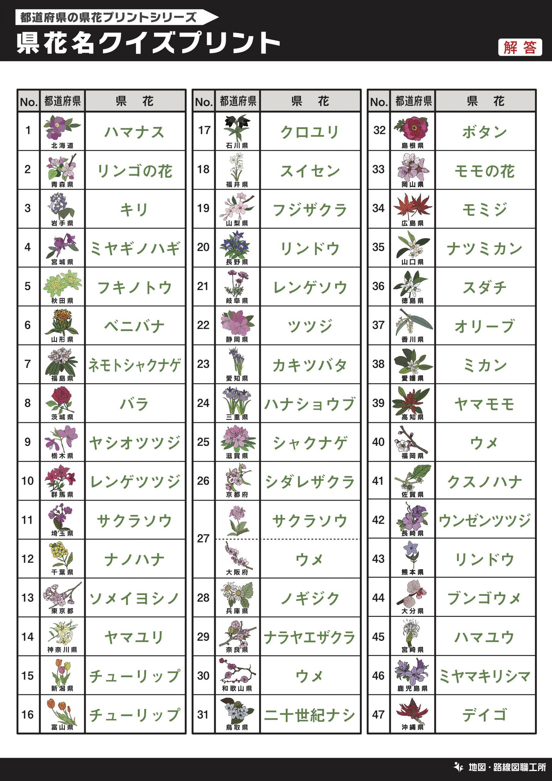 県花名クイズプリント 記入問題