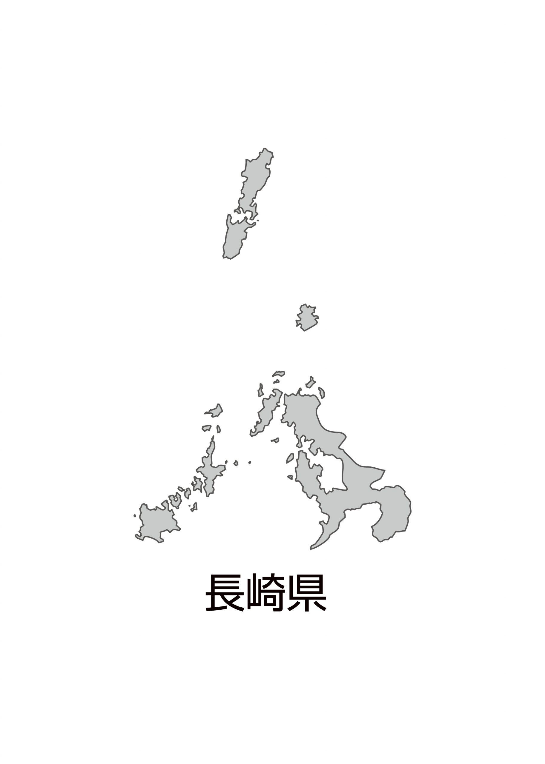 長崎県無料フリーイラスト|日本語・都道府県名あり(グレー)