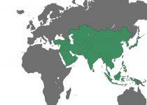 世界地図地域・国名なし・アジア(緑)