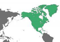 世界地図地域・国名なし・北アメリカ(緑)