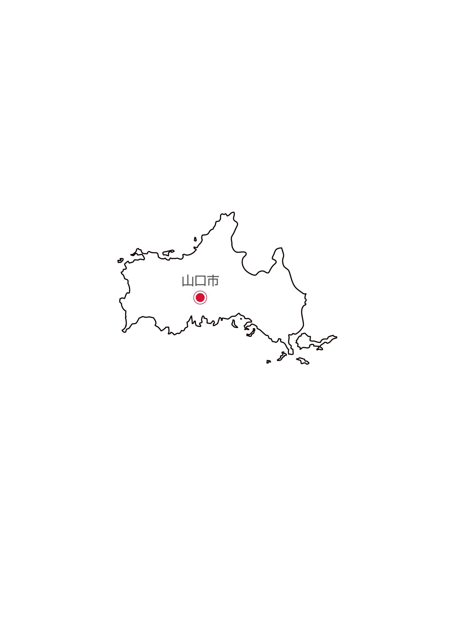 山口県無料フリーイラスト|日本語・県庁所在地あり(白)