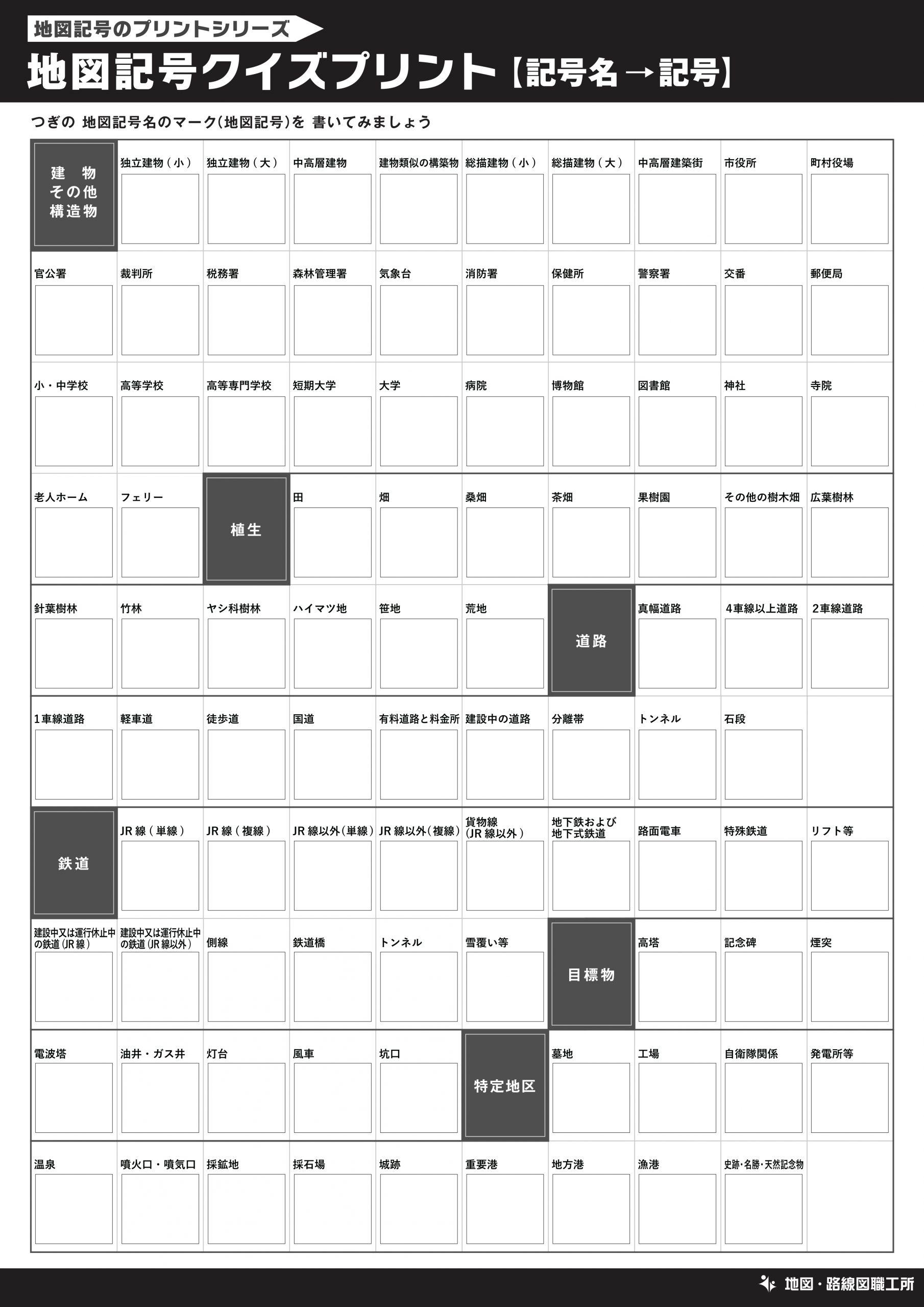地図記号クイズプリント【記号名→記号】