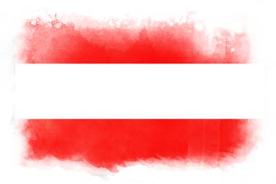 オーストリア共和国の国旗イラスト 水彩タイプ