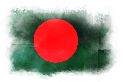バングラデシュ人民共和国の国旗イラスト 水彩タイプ