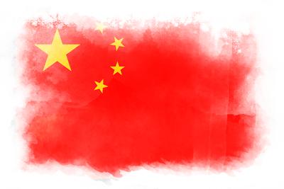 中華人民共和国の国旗イラスト 水彩タイプ
