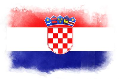 クロアチア共和国の国旗イラスト 水彩タイプ