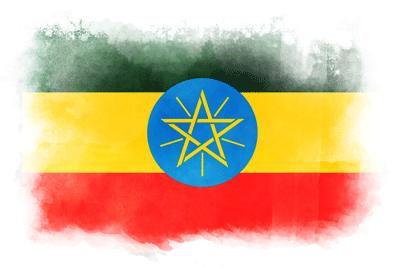 エチオピア連邦民主共和国の国旗イラスト 水彩タイプ