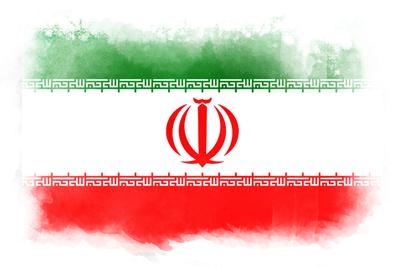イラン・イスラム共和国の国旗イラスト 水彩タイプ