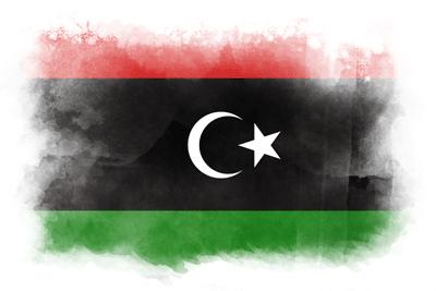 リビアの国旗イラスト 水彩タイプ