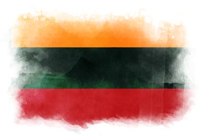 リトアニア共和国の国旗イラスト 水彩タイプ