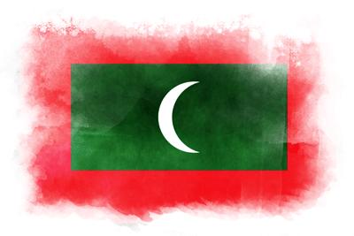 モルディブ共和国の国旗イラスト 水彩タイプ