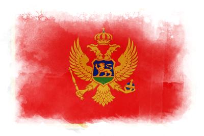 モンテネグロの国旗イラスト 水彩タイプ
