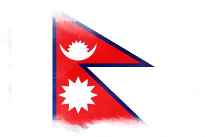 ネパール連邦民主共和国の国旗イラスト 水彩タイプ
