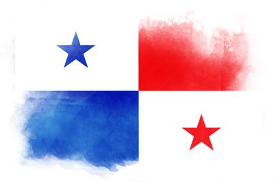 パナマ共和国の国旗イラスト 水彩タイプ