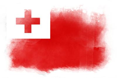 トンガ王国の国旗イラスト 水彩タイプ