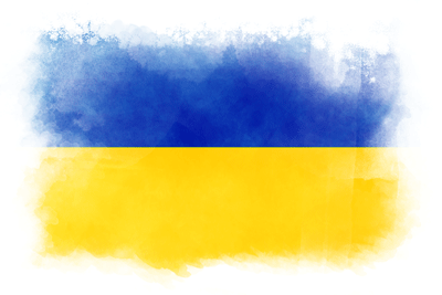 ウクライナの国旗イラスト 水彩タイプ