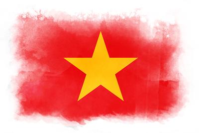 ベトナム社会主義共和国の国旗イラスト 水彩タイプ