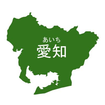 愛知県イラストマップ県名ルビあり(緑)