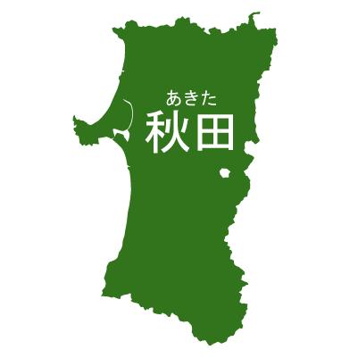 秋田県イラストマップ県名ルビあり(緑)