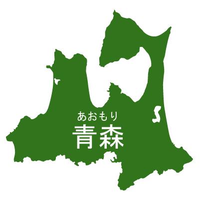 青森県イラストマップ県名ルビあり(緑)