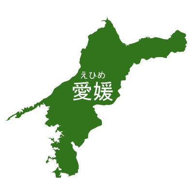 愛媛県イラストマップ県名ルビあり(緑)