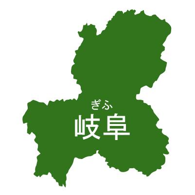 岐阜県イラストマップ県名ルビあり(緑)