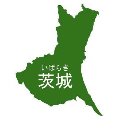 茨城県イラストマップ県名ルビあり(緑)