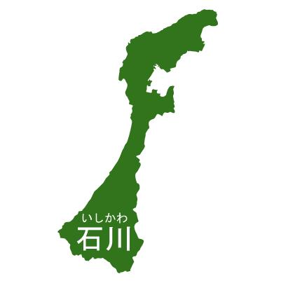 石川県イラストマップ県名ルビあり(緑)