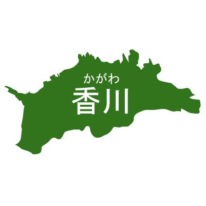 香川県イラストマップ県名ルビあり(緑)
