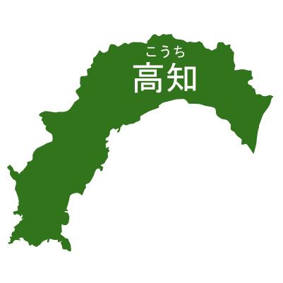 高知県イラストマップ県名ルビあり(緑)