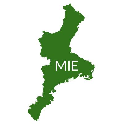 三重県イラストマップ県名英語(緑)