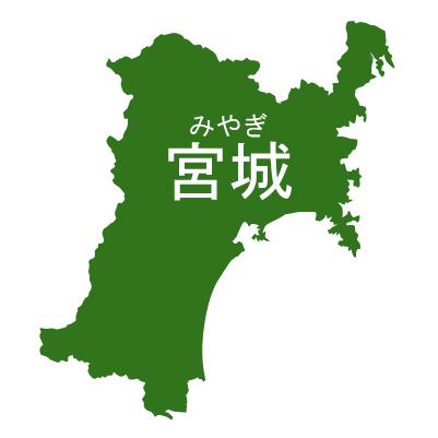 宮城県イラストマップ県名ルビあり(緑)