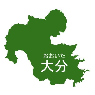 大分県イラストマップ県名ルビあり(緑)