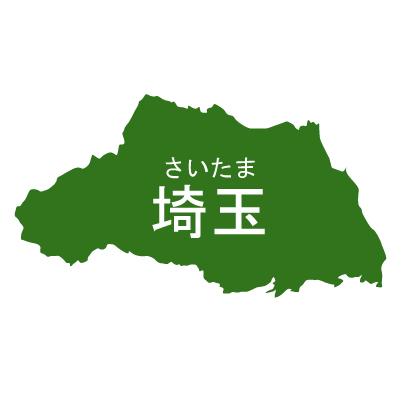 埼玉県イラストマップ県名ルビあり(緑)