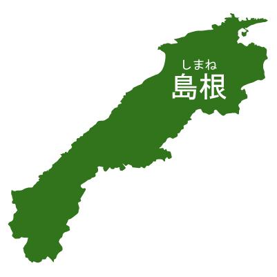 島根県イラストマップ県名ルビあり(緑)