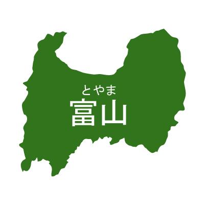 富山県イラストマップ県名ルビあり(緑)